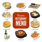 Korean cuisine traditional dishes vector flat icons set Stock Photo