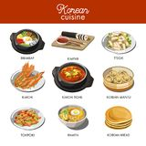 Korean cuisine traditional dishes flat icons. Stock Photography