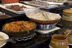 Korean cuisines buffet restaurant. Kimchi and starters in a Korean Buffet restaurant stock images