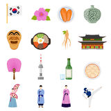 Korean Culture Symbols Flat Icons Collection. Korean cultural symbols flat icons collection with traditional cuisine clothing sports games and landmarks isolated Royalty Free Stock Photo