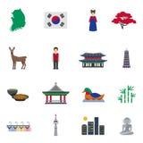 Korean Culture Symbols Flat Icons Set Stock Images