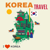 Korean Culture Symbols Map Travel Poster. Worldwide travel poster for korea visitors with map and cultural national symbols and landmarks abstract flat vector Royalty Free Stock Image
