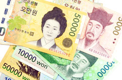Korean Currency. Royalty Free Stock Photography