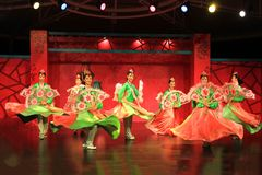 Korean dance  2. Korean dance, a beautiful dance.To attract the audience Stock Images