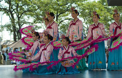 Korean Dancers in Multicultural Event Stock Images