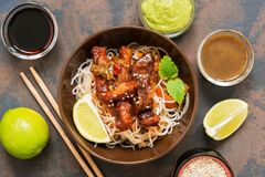 Free Korean Dish Glass Noodles And Meat In A Sauce. Asian Food. Top View.Stir-fried Stock Photos - 115081433