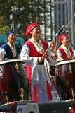 Korean Drum Festival. Three South Korean women perform at the Korean Drum Festival in Seoul Stock Images