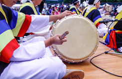 Korean drum played at festival grounds Royalty Free Stock Photography