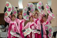 Korean ensemble. Girls dance national Korean dances Royalty Free Stock Photos