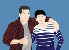 Korean Father and Son Strong Bond and Warm Family. Korean father and son with strong bond and warm family vector illustration. Use for many purpose such as stock illustration