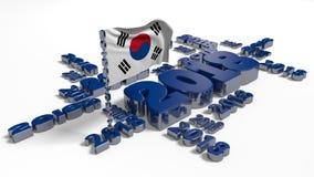 2018 Korean Flag design. 2018 Korean Flag with a White Background Royalty Free Stock Photos
