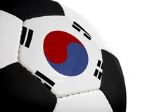 Korean Flag - Football. Korean flag painted/projected onto a football (soccer ball). Isolated on a white background stock images