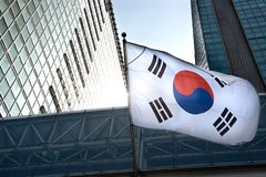 The Korean flag hanging in a high-rise building. The Korean flag hanging in a high-rise building stock photos