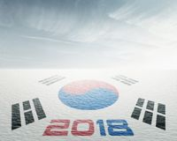 Korean Flag with Number 2018 in Snow Stock Images