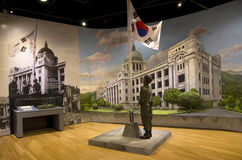 Korean flag  soldier in War Memorial of Korea Stock Images