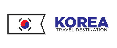 Korean flag and travel destination words Royalty Free Stock Images