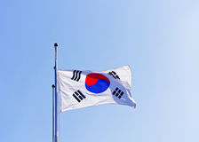 Korean Flag waving by wind. Korean Flag waving by the wind stock photography
