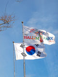 Korean Flags. A Korean flag & a flag of Jeju's Hallim Park against blue sky Royalty Free Stock Photos