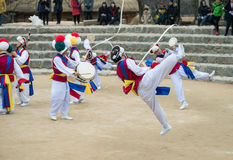 Korean Folk Dancers and Musicians Stock Image