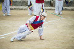 Korean Folk Dancers and Musicians Stock Photo
