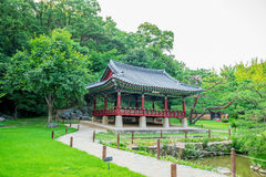 Korean Folk Village,Traditional Korean style architecture in Suwon. Royalty Free Stock Photo