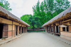 Korean Folk Village,Traditional Korean style architecture in Suwon. Royalty Free Stock Images