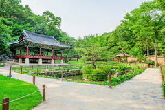 Korean Folk Village,Traditional Korean style architecture in Suwon. Royalty Free Stock Image