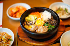 Korean food. Variety of a different delicious Korean dishes Stock Images