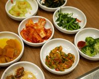 Korean food appetizer. Selective focus。. Korean food appetiser pickle group photo Stock Photography