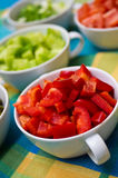 Korean food bowls with vegetables. Table setting for Korean food party with white ceramic bowls with colorful vegetables cut into small pieces ready to be taken Stock Photography
