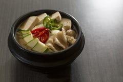 Korean Food. A heated stone bowl dish of korean vegetarian food Royalty Free Stock Photography