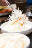 Korean food in restaurant Stock Images