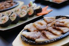 Korean food set. On black table Stock Image
