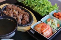 Korean food set. On black table Royalty Free Stock Images