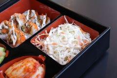 Korean food set. On black table Royalty Free Stock Photo