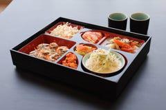 Korean food set. On black table Royalty Free Stock Photos