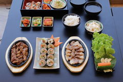 Korean food set. On black table Stock Images