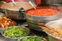 Korean Food. Some traditional Korean food in a traditional market Royalty Free Stock Images