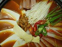 Korean food steamboat. Selective focus。. Korean steamboat with spicy kimchi soup Stock Image