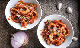 Korean Food style - octopus with spicy sauce. Korean Food - octopus with spicy sauce Royalty Free Stock Images