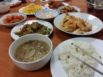 Korean Food. Traditional lunch chopsticks, comida coreana, palillos, almuerzo, asia kimchi rice stock photography