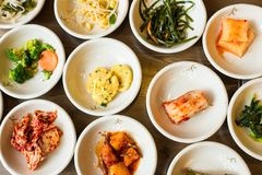 Korean food. Variaty of Korean food including Kimchi Royalty Free Stock Photos