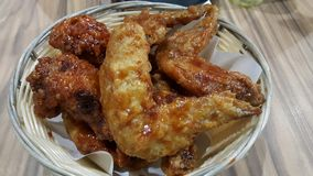 Korean Fried Chicken. Coated spicy garlic food royalty free stock photos