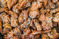 Korean fried pork with sesame Stock Images