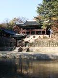 Korean garden. The korean style building in the hidden garden inside Changdokgung Palace Royalty Free Stock Photos
