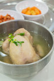 Korean ginseng chicken soup. In bowl Royalty Free Stock Photography