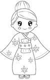 Korean girl coloring page Stock Photo
