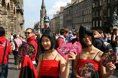 Korean girls Edinburgh festival Royalty Free Stock Photos