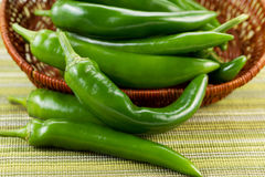 Korean Green Peppers falling out of Basket Stock Image