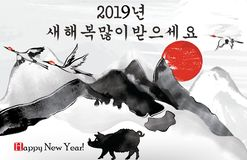 Korean greeting card for the New Year of the Pig. Korean text translation: Happy New Year, written with Chinese-style ideograms v. Spring Festival / New Year of royalty free illustration